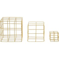 3-piece brass wire cube set in table top décor | CB2