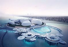 Architectural concept design for Dubai Expo 2020 Dubai Blue is an architectural concept design of a multi-functional complex with a strong urban/social background… Architecture Design, Floating Architecture, Water Architecture, Concept Architecture, Futuristic Architecture, Amazing Architecture, Chinese Architecture, Architecture Office, Contemporary Architecture