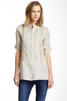 Pleated Lace Front Linen Tunic by Love Token on @nordstrom_rack