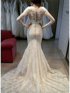 MERMAID LONG SLEEVES BUTTON BACK LACE WEDDING DRESS