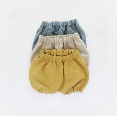 Kids Gift, Set of 3, Linen Bloomers Set, Baby Gift Idea, You Choose 3 Colors, Vintage Washed Linen