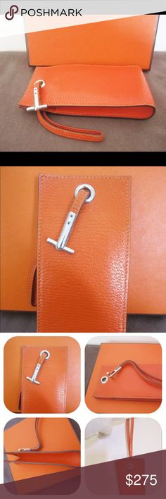 """ON SALE! Auth. Hermes Accessory Wrist Pouch Case ON SALE! Preowned. Good condition. Please view all photos carefully, as they are an essential part of the description. Made in France 2005. Blind stamp """"I' inside square. Dimensions: 5.5"""" length, 2.5"""" height, 1"""" depth. Strap length: 6.5"""". Will fit iPhone 3,4,5 and other cell phones. Works well as wallet/ card case, or for lipstick, cosmetics, etc.. Pebbled leather in iconic Hermes orange. Hermes box is shown for display purposes. Price is…"""