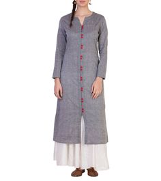 Grey #Mangalgiri #Cotton #Kurta #Set by #Astha & #Sidharth at #Indianroots…