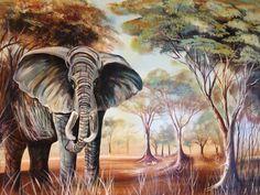 Real Elephant - P33 This beautiful original acrylic painting was painted by Ugandan artist, Davis Muwumba