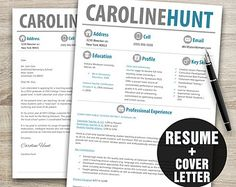 Instant Resume Templates Teacher Resume Template Word  Cover Letter Template  Instant