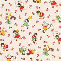 cream Lecien fabric mini flower children 2