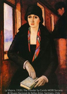 La Viajera (1926) / THE TRAVELER  by Camilo MORI Serrano (Artist. Valparaíso, Chile 1896 – 1973 Santiago, Chile) Expressionist.  A founder of the Grupo Montparnasse.  © Museo Nacional de Bellas Artes, Santiago, Chile.  More on the artist: http://en.wikipedia.org/wiki/Camilo_Mori Train, Travel, Journey, Beauty. Always bring a book with you! ... If you like the art, credit the artist & museum. List/Link directly to the museum website. Promote our MUSEUMS (where funding is often iffy).