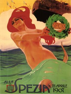 vintage Italian travel advertising art poster for Spezia. by Leopoldo Metlicovitz in Milano***Research for possible future project.