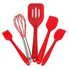 Deboc 5Pcs Heat Resitant Silicone Kitchen Utensils Set Non-stick Cooking Bake Tool(Red)