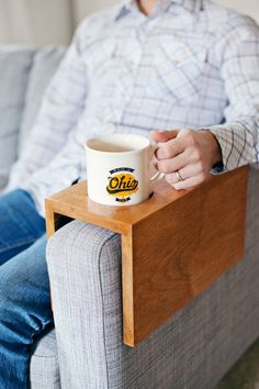 Wooden Sofa Sleeve with Cup Holder (via Bloglovin.com )