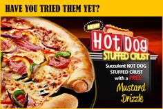 The new answer to the question, shall we have a hot dog or get a pizza? :-o Now available at Pizza Hut (UK) - Hot Dog Stuffed Crust Pizza! Pizza Hut, New Pizza, Crust Pizza, Pizza Crazy, Pizza Burger, Crazy Food, Pizza Food, Pizza Dough, Hot Dogs