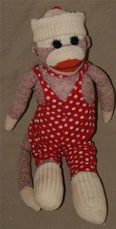 Vintage Sock Monkey Handmade and Dressed 16.00