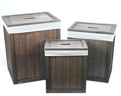 Brown Wooden Lidded Linned Bedroom Bathroom Storage Washing Laundry Basket Bin