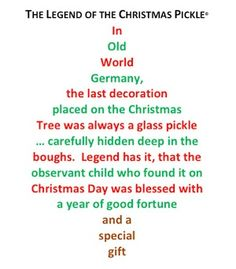Christmas Pickle Poem Christmas Christmas Christmas Pickle