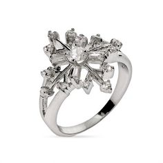 Sparkling Cubic Zirconia Sterling Silver Snowflake Ring