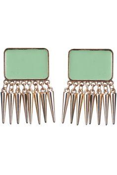 Rectangle Tassels Green Earrings $13.23