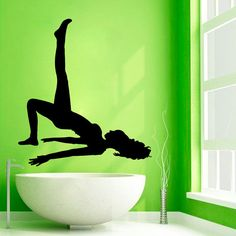 Sport Wall Decals Girl Pilates Yoga Decal by WallDecalswithLove