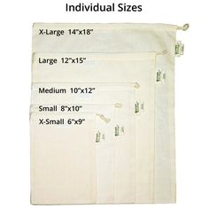 Simple Ecology Organic Cotton Muslin Produce Bag - Set of 6 Each of Lg, Med. Muslin Bags, Fabric Bags, Cotton Bag, Cotton Muslin, Produce Bags, Reusable Grocery Bags, Favor Bags, Bag Storage, Food Storage