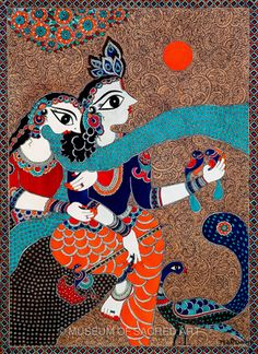 by Bharti Dayal Peacock Painting, Krishna Painting, Madhubani Painting, Krishna Art, Fabric Painting, Indian Artwork, Indian Folk Art, Indian Artist, African Art Paintings