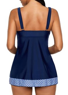 Blue V Neck Printed Tankini Top and Panty Babydoll Lingerie, Lingerie Sleepwear, Beachwear, Swimwear, Sleepwear Women, Swim Dress, Tankini Top, Women Swimsuits, Clothing Patterns
