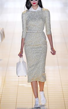 Embroidered Metallic Lace Sheath Dress by Rochas for Preorder on Moda Operandi