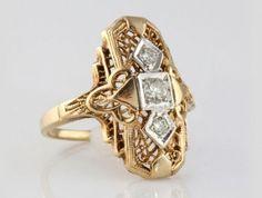 $899.0010 Karat Yellow Gold with 3 Diamonds Estate Ring I-11784 #10 Karat Yellow Gold with 3 Diamonds #Designer Rings #westchestergold