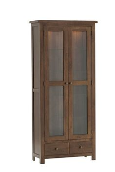 Riva oak, glazed display unit, with lights