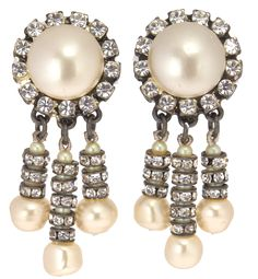 Chanel Pearl and Strass Drop Earrings