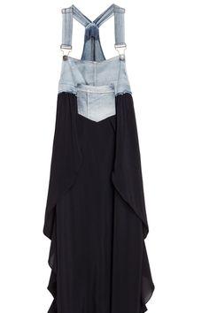 Splicing Denim Black Strap Dress