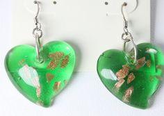 925 Sterling Silver Green Lampwork Glass Bead Drop Earrings NWT