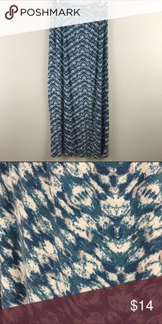 Maxi Skirt - Multi color Maxi Skirt in Blue, white with light blush pink accent design.   🌺Size Medium  🌺95% Rayon, 5% Spandex Olive & Oak Skirts Maxi