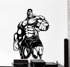 Wall Vinyl Decal Bodybuilding Bodybuilder Iron Sport Home Interior Decor z4226