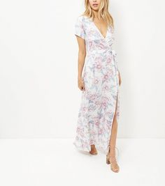 White Floral Print Tie Waist Maxi Dress | New Look