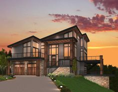 Architectural Designs 3 Bed Modern House Plan 85147MS gives you two decks and over 3,000 square feet of living. Great for your sloping lot. Ready when you are. Where do YOU want to build?