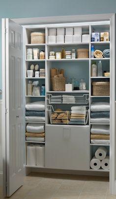 White MasterSuite creates the perfect bathroom linen closet.