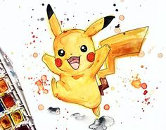 PokemonGo has been taking over NYC (Not gonna lie, the game is fun!) So I decided to paint some of my favorite little creatures. Art Drawings For Kids, Art Drawings Sketches Simple, Cartoon Drawings, Cute Drawings, Pikachu Art, Kindergarten Art Projects, Art Cart, Happy Paintings, Fanarts Anime