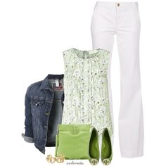 A fashion look from March 2014 featuring silk shirt, jean jacket and high rise white jeans. Browse and shop related looks.