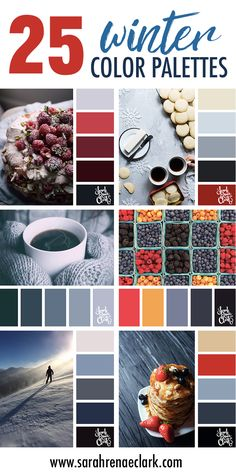 25 Winter Color Schemes   Click for more winter color combinations, mood boards and seasonal color palettes at http://sarahrenaeclark.com #color #colorscheme #colorinspiration
