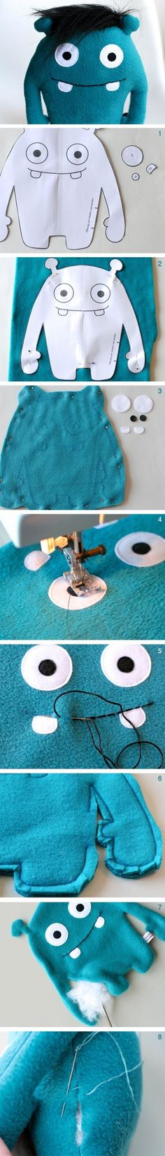 DIY sewing instructions for a cute monster made of plush, DIY toys / diy sewing tutorial for a cuddl Sewing For Kids, Diy For Kids, Felt Crafts, Kids Crafts, Sewing Crafts, Sewing Projects, Sewing Tutorials, Ugly Dolls, Monster Dolls