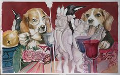 Olivia roest Design schets voor een groot-formaat schilderij | Mixed media op Bad |
