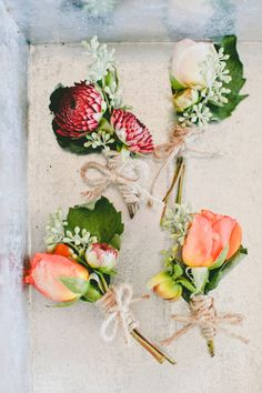 Beautiful boutonnieres: http://www.stylemepretty.com/2015/04/28/indian-fusion-wedding-in-hollister/   Photography: Onelove - http://www.onelove-photo.com/