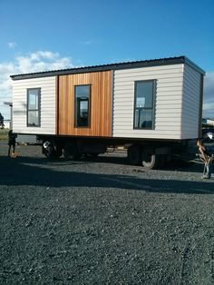La Nook on truck ready to be moved. Transportable Homes. Cedar House