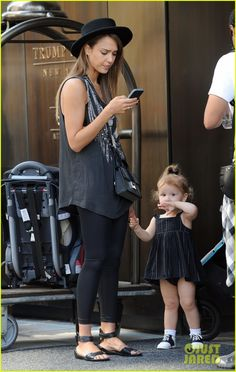 Jessica Alba leaves her New York hotel with her daughter Haven on September 11, 2013
