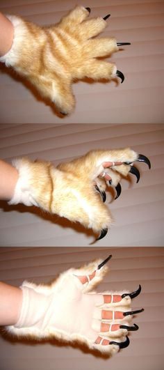 I made these cat gloves for a cat outfit in the fall of 2007. A friend at the Kansas City Renaissance Festival (the mountain lion guy at the Barbarian's Lair) acquired claws and gave me the id...