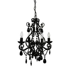 A beautiful 4 bulb chandelier is the perfect finishing touch to any room - even the powder room! This lovely vintage-style metal framed chandelier has glass and acrylic beads and dangles, and uses four 25 watt candelabra bulbs. Cheap Chandelier, White Chandelier, Chandelier Shades, Chandelier Lighting, Gothic Chandelier, Bathroom Chandelier, Kids Lighting, Lighting Ideas, Halloween Chandelier