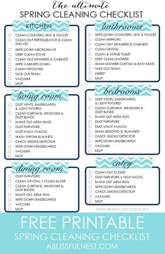 Your ULTIMATE spring cleaning checklist to help you refreshen your home for spring by http://ablissfulnest.com
