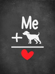 """Print reads, """"Me + Dogs = Love"""" These museum-quality posters are made on thick, durable, matte paper. A bold statement in any room, these posters are printed on archival, acid-free paper. ** FRAME NOT INCLUDED **"""
