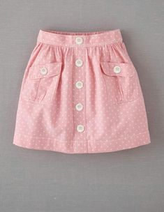 Mini Boden 'Spotty' Chambray Skirt (Little Girls & Big Girls) Baby Outfits, Kids Outfits, Newborn Girl Outfits, Fashion Kids, Girl Fashion, Skirts For Kids, Kids Frocks, Girl Dress Patterns, Sewing Patterns