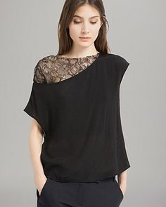 e8bae150670ef Maje Top - Enock Lace Panel Women - Contemporary - Bloomingdale s