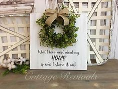 Home Sign with Wreath Farmhouse Sign Family Sign Wreath Sign #ad